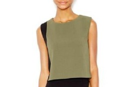 Bar III Crop Top Sz S Black Olive Combo Structured Cropped Sleeveless Co... - $37.35