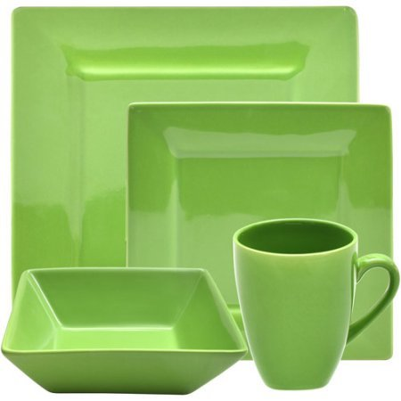 Dinnerware set kitchen square dishes plates mugs bowls 16 piece green porcelain & Dinnerware Set Kitchen Square Dishes Plates and 49 similar items
