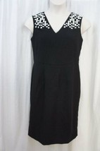 Anne Klein Dress Sz 12 Black White Studded Sleeveless Career Cocktail Sh... - $61.64