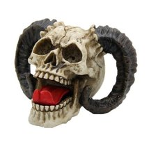 4.75 Inch Evil Ram Horned Skull with Tongue Out Figurine Statue  - £14.99 GBP