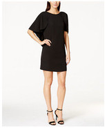 Calvin Klein New Black Batwing - Sleeve Caplet Shift Dress Petites   4P ... - $89.99
