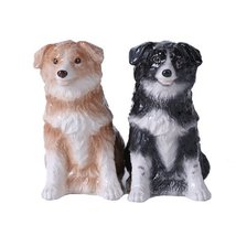 4.75 inches Border Collie Couple Magnetic Salt and Pepper Shaker Kitchen... - $12.59