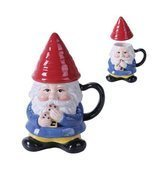 Ceramic Cute Mr Gnome Lidded Mug - £15.00 GBP