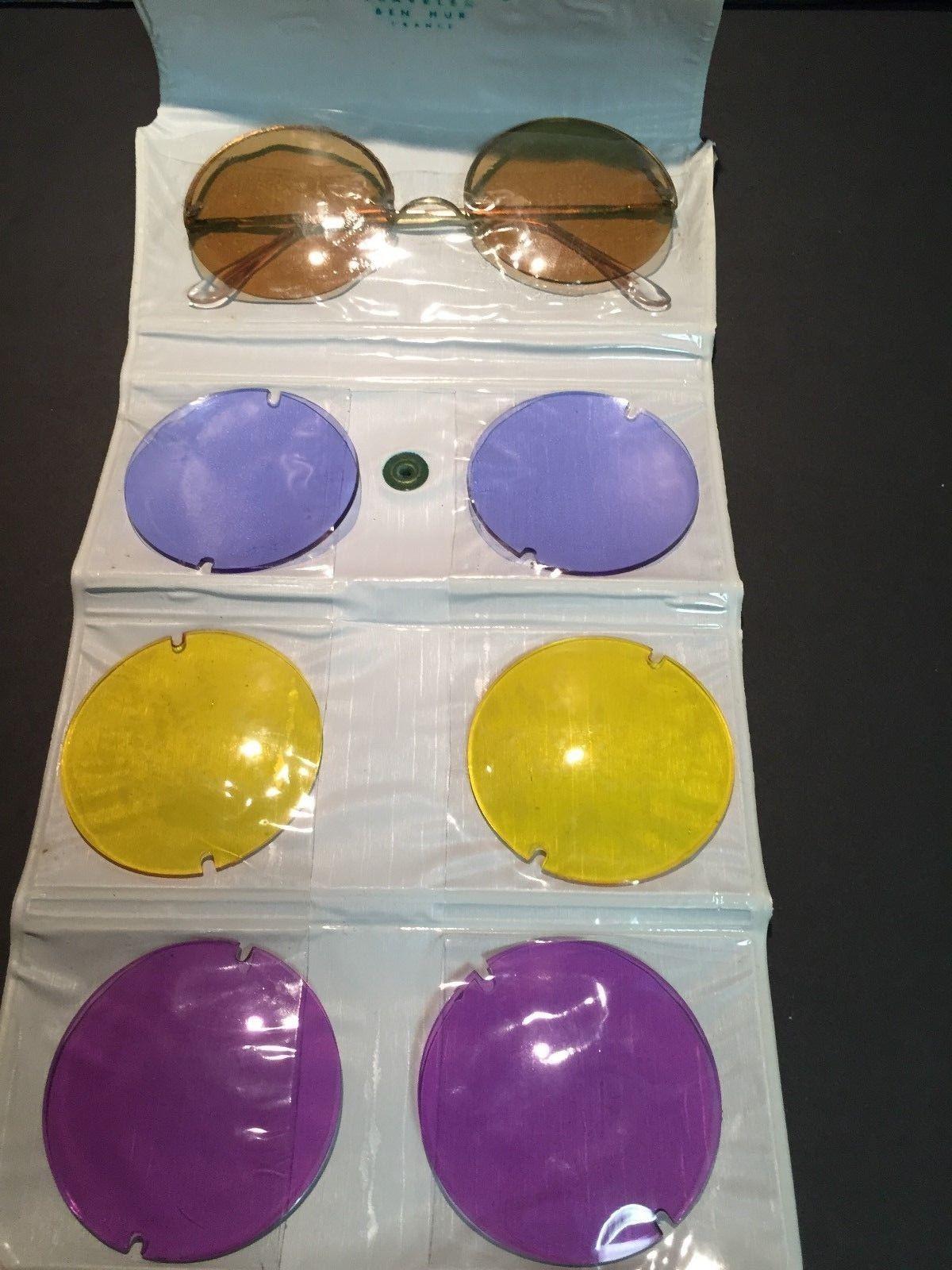 VTG Ben Hur Chameleon Big Round Sunglasses 4 Pairs of Interchangeable Lenses