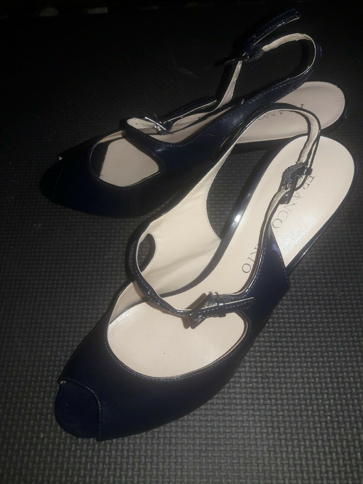 Franco Sarto Open Toe Leather spike Heels Womens Shoes Size 7.5 Navy Blue