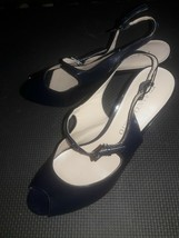 Franco Sarto Open Toe Leather spike Heels Womens Shoes Size 7.5 Navy Blue - $23.72