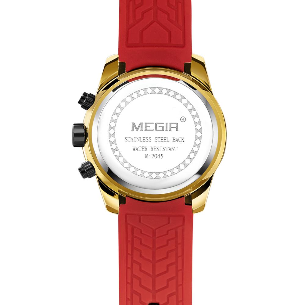 MEGIR 2045G Chronograph Date Display Quartz Watches Silicone Strap Men Wrist Wat