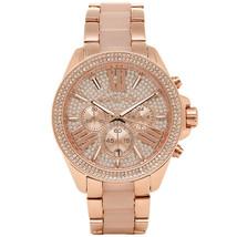 Michael Kors MK6096 Rose Gold Pave Crystals Wren Chrono Analogue Watch + Bag - $147.87