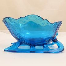 "LARGE 9"" SLEIGH Westmoreland LIGHT BLUE TEAL GLASS Centerpiece Bowl Candy Dish image 4"