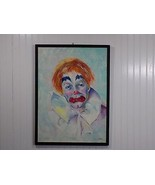 Fantastic Original Signed L WHITAKER Oil / Acrylic on Canvas Clown Painting - $544.50
