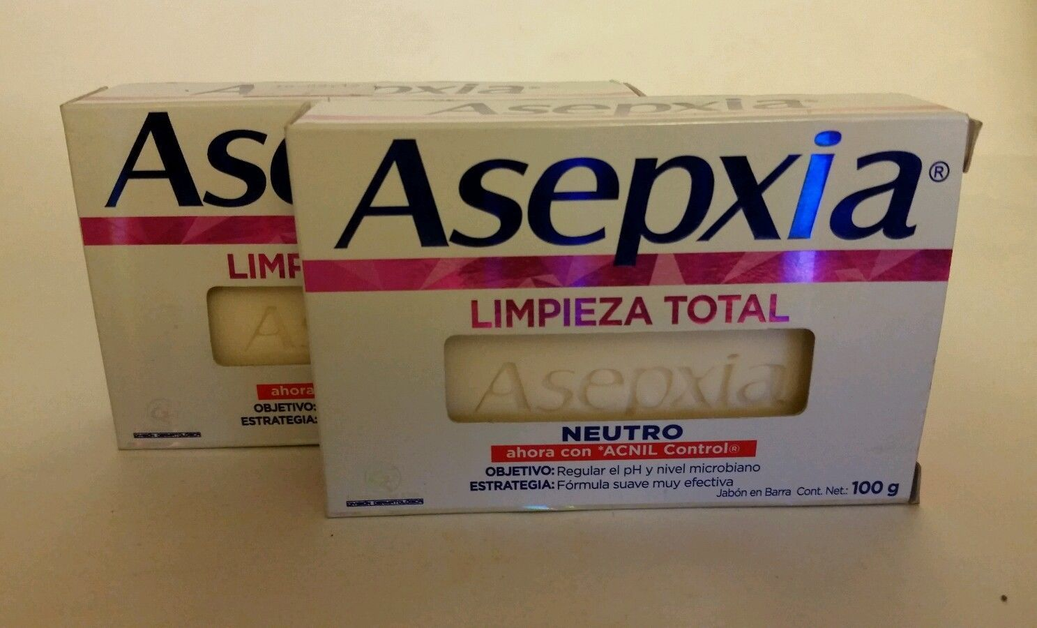ASEPXIA NEUTRO {Limpieza Total} 100g x 2 bars of acne fighting soap New Formula!