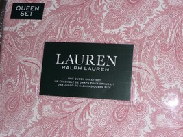 Ralph Lauren 4-piece Sheet Set Queen Cotton Sateen Red Outline Paisley D... - $74.95