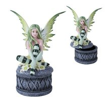 Fairyland Legend Green Flower Fairy Trinket Box Celtic Jewelry - $22.28