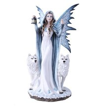 "Large 18"" Winter Fairy Queen With Wolves Elsa Statue Fairyland Legends Collectio - $86.33"