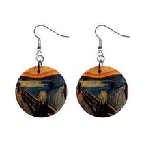 "Edvard Munch The Scream 1"" Round Button Earrings Fish Hook - $3.78"