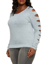 COOL AWESOME NEW WOMENS PLUS SIZE 4X 26W GRAY GREY SHIRT TOP W SLASHED S... - $19.34