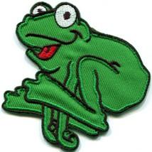 Frog toad hippie 70s retro fun animal amphibian applique iron-on patch n... - $2.95
