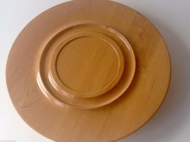"Vintage 16"" Large Round Wood Lazy Susan Tray Natural Finish - $32.16"