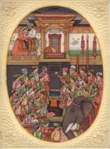 Mughal Jahangirnama Painting Handmade Moghul Empire Indian History Minia... - $269.99