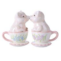 Mr. and Mrs. Kissing Pig 3 inch Ceramic Stoneware Salt and Pepper Shaker... - $10.89