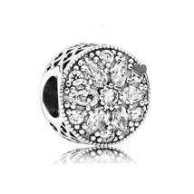 925 Sterling Silver Radiant Bloom with Clear Zirconia Charm Bead QJCB784 - €18,31 EUR