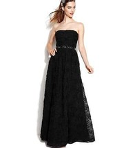 Adrianna Papell New Womens Black Embellished Rosette Ball Gown  Petites   4P - $239.00