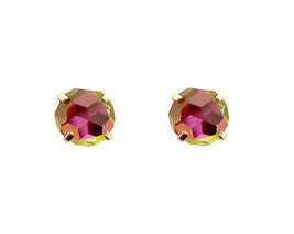 14k Real Gold Round Rainbow Stud Screw Back Earrings Buy One Get One Free  - $48.99