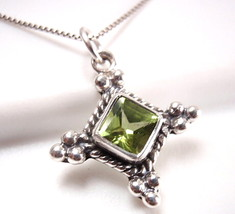 Faceted Green Peridot Necklace 925 Sterling Sil... - $15.93