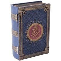 Handpainted Resin Antique-Look Freemason Masonic Symbol Book-Shaped Box - $29.68