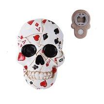 Poker Skull Fridge Magnet Bottle Opener Collectible Figurine - $12.87
