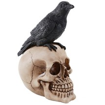Perched Raven On Skull Poe Raven Figurine Halloween Home Decor Gift - £9.73 GBP