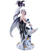 Celestial Fairy Seated on Crescent Moon with Fantasy Dragon Figurine 13 ... - £45.24 GBP