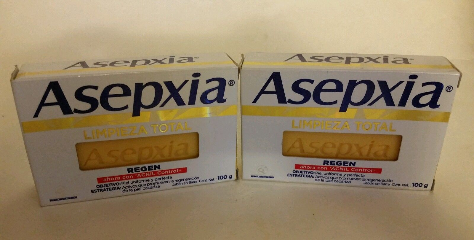 ASEPXIA Regen { Limpieza Total } 100g x 2 bars of acne fighting soap NEW FORMULA
