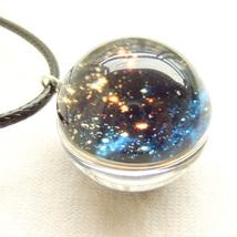Glass Ball Necklace Pendant Galaxy Star Nebula Planet Sparkling Art Blue Lovely - $8.99