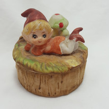 Vintage Homco Leaning Elf Trinket Box Mushroom Woodland Pixie Jewerly Ho... - $14.94