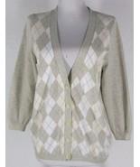 J.CREW Argyle Cardigan Sweater L 100% Cotton Kn... - $21.24