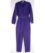 vtg 80s Purple Cotton Jumpsuit S Minimalist Lon... - $39.94