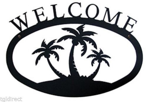 Primary image for Wrought Iron Welcome Sign Palm Trees Silhouette Large Outdoor Plaque Home Decor