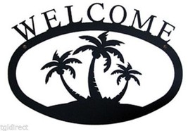 Wrought Iron Welcome Sign Palm Trees Silhouette Large Outdoor Plaque Hom... - $46.99