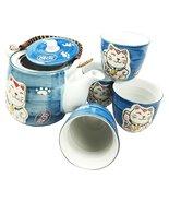 Japanese Design Maneki Neko Lucky Cat Ocean Blue Ceramic Tea Pot and Cup... - $28.66