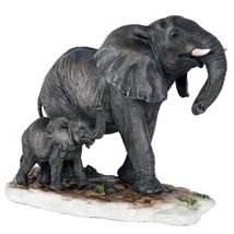 African Elephant with Baby Elephant Endangered Wildlife Collectible Figu... - £15.03 GBP