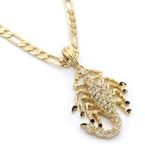 "Men 14k Gold Plated Scorpion King M2 Pendant Hip-Hop 24"" Figaro Chain - $13.85"