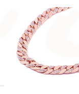 14k Rose Gold Finish Iced Out Hip Hop CZ Chain Mens Miami Cuban Chain ne... - $39.59
