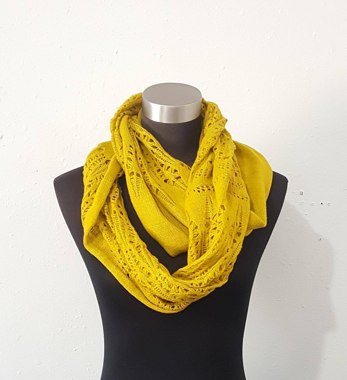 Twisted Crochet Infinity Scarf Shoulder Wrap Ruana Mustard Yellow One Size  image 4