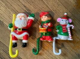 VTg  PLASTIC CHRISTMAS STOCKING sanTa HOLDERS  hooks HALLMARK, J.S.N.Y. - $25.00