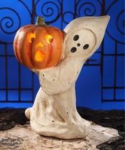 Adorable Paper Mache Large Halloween Ghost w/Pumpkin Lantern,19'' x 15''. - $113.85