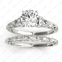 1.5 TCW Round Cut CZ 925 Sterling Silver White Platinum Plated Bypass Bridal Set - $92.99
