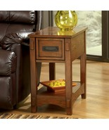 Front Living Room Chairside End Table Thin Light Oak Wood Grain Drawer S... - $259.93