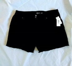 Style & Co Women's Zippered Frayed-Hem Double-Button Black Short size 16 - $19.87