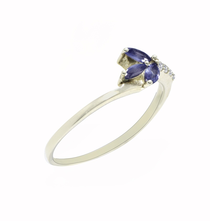 Natural Tanzanite & Cubic Zirconia Gemstone Solid 925 Sterling Silver Ring SR626